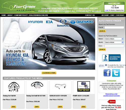 Fourgreen Auto Parts Michigan Online Store Website Portfolio